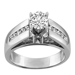14KT White gold 1.00 ctw Glacier Ice Canadian diamond engagement ring. RIN-LCA-2750