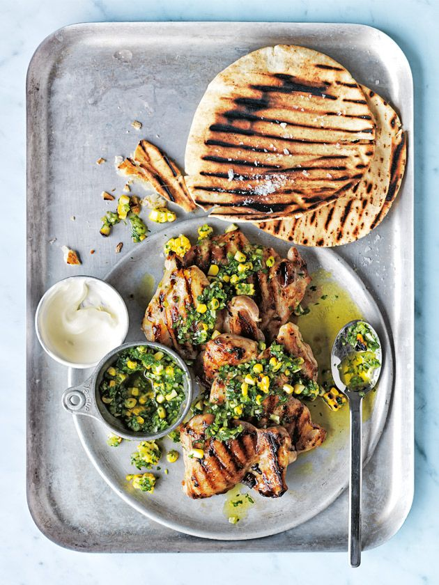 char-grilled chicken with green chilli and corn salsa