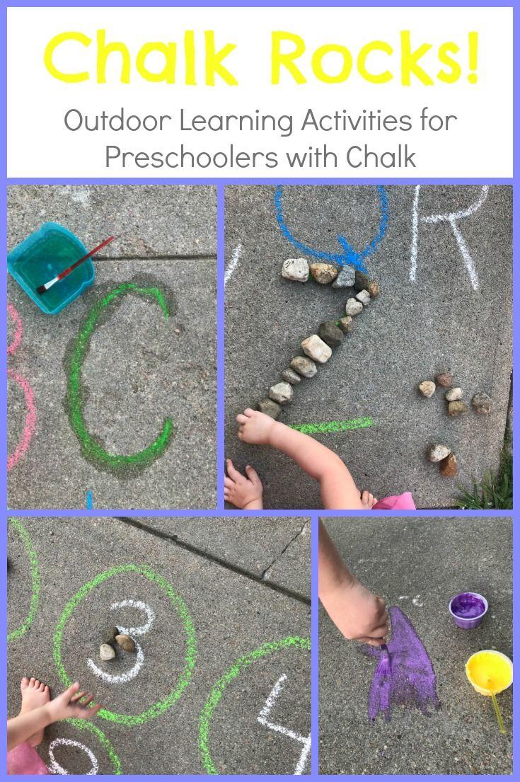 Easy Chalk And Rocks Activities For Preschoolers Outdoors Playful Learning Preschool Outdoor Activities Chalk Activities Outdoor Learning Activities