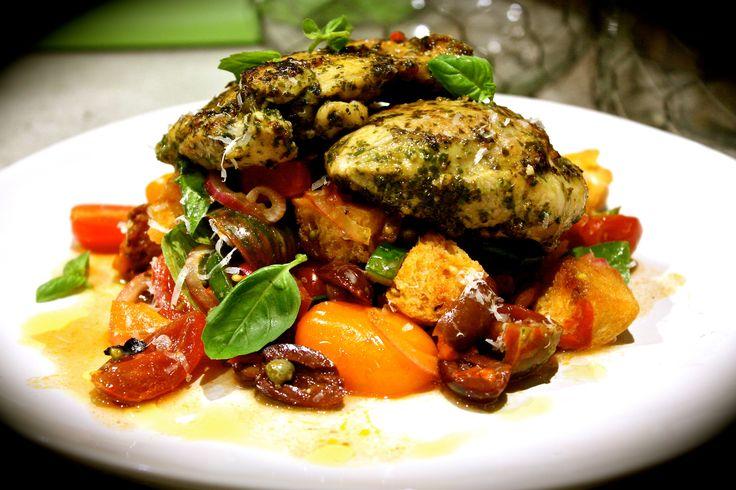 Pesto Chicken with Panzanella Salad
