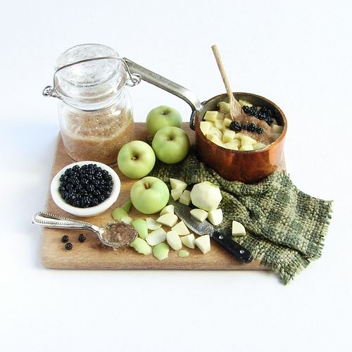 https://flic.kr/p/7cM9cB | Stewing Apples and Blackberries Prep Board - 1:12 Scale Dollhouse Miniature Food | Cooking apples and blackberries ready to be stewed with brown sugar. 1:12 scale faux food.