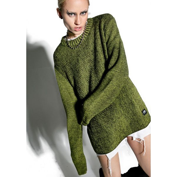 Cheap Monday Shade Knit featuring polyvore women's fashion clothing tops sweaters round neck top green top oversized slouchy sweater slouch sweater knit sweater
