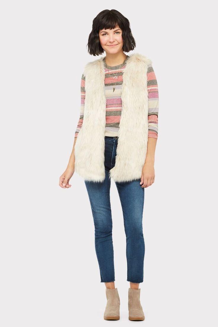 Melange Faux Fur Vest in 2020   Fur vest, Faux fur fabric ...