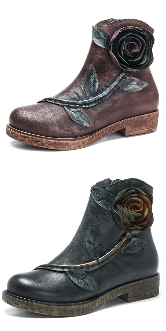 US$53.70 SOCOFY Sooo Comfy Vintage Handmade Rose Ankle Leather Boots,Get One for Yourself!