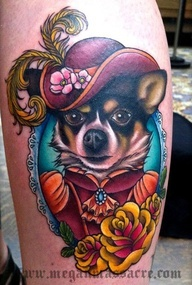 Here is a tattoo of the clients dog dressed in victorian clothes, the clients dog is actually a service dog that was prescribed to her to cope with anxiety. Chihuahua Tattoo. NY ink This is so beautiful, dogs are a girls best friend.