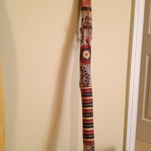 Painted & wood burned driftwood walking stick.