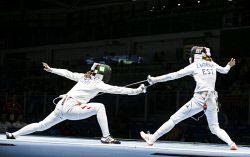 TWA-0051073 © WestPix 2016 Rio Olympics. Rio de Janeiro, Brazil. Fencing day 6. Estonia takes on China. Irena Embrich (EST) v China's Anqi Xu Picture: Simon Santi The West Australian