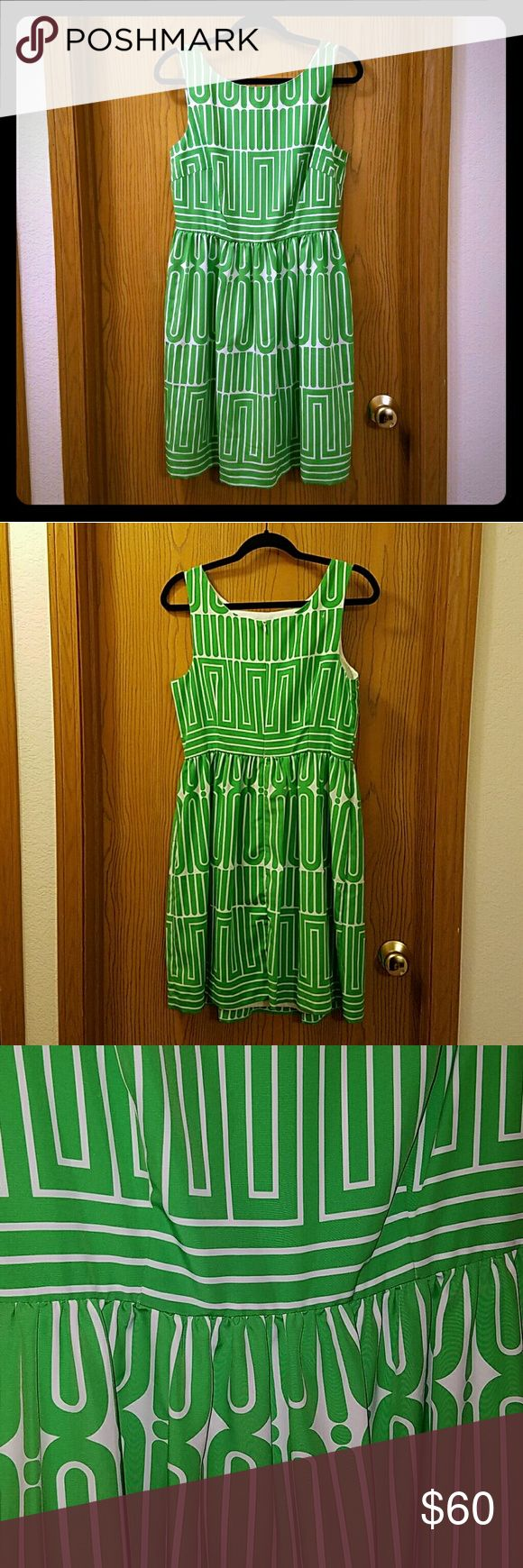 Trina Turk Maze Fit and Flare Dress! Green and white maze design fit and flare dress. Zipper closure in the back. Length is 38 inches. Perfect condition! Trina Turk Dresses