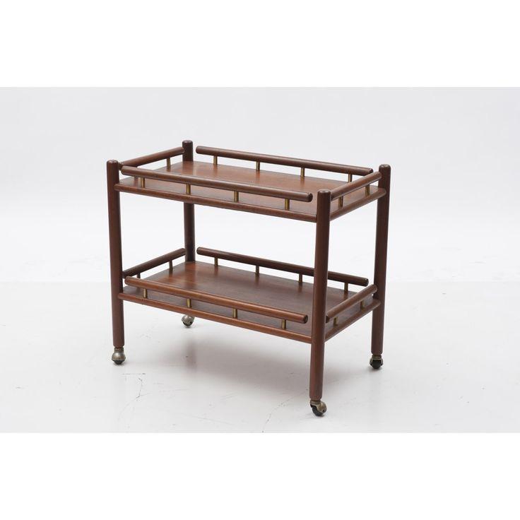 Carrello a due piani designer Tapiovaara produzione Italia anno 1957 colore marrone in legno finiture in ottone - Complementi - shop.spazio900.net