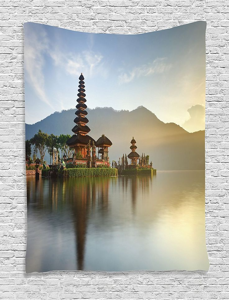 Balinese Decor Tapestry Wall Hanging By Ambesonne Pura Ulun Danu Temple Panorama At Sunrise On A Lake Bratan Bali Indonesia Waterscape Bedroom Living Room
