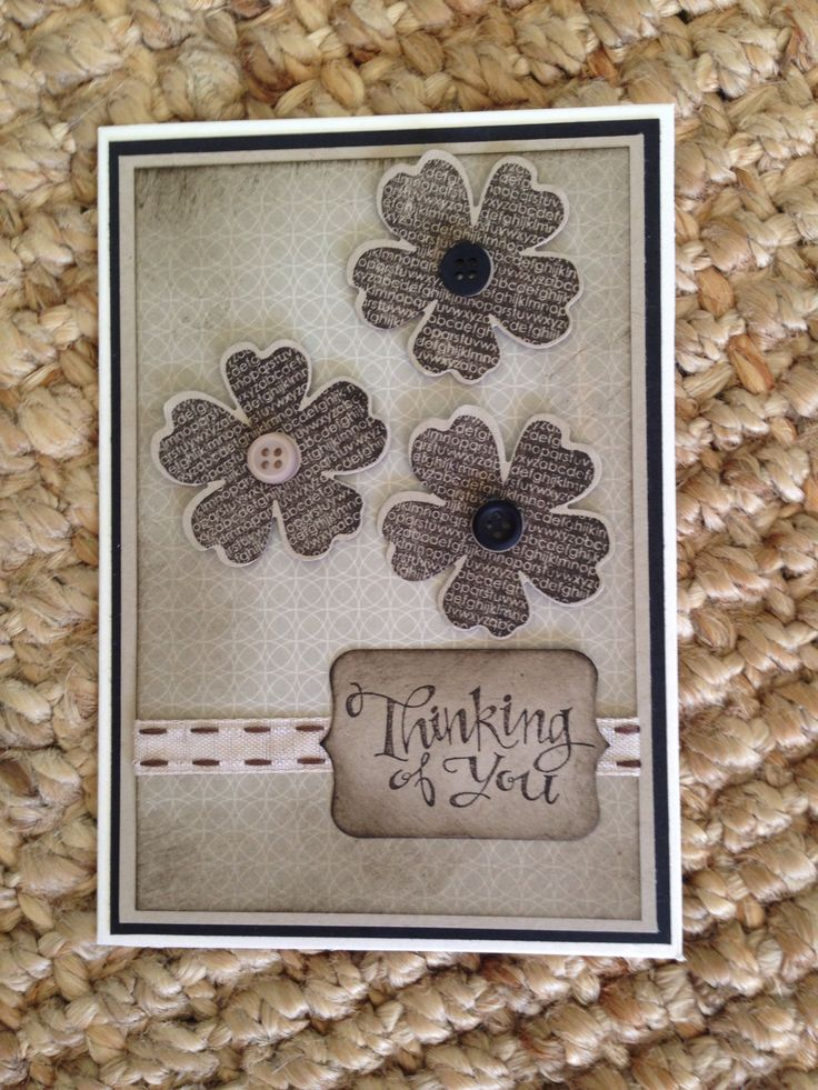 Stampin Up - Flower Shop stamp, Sassy Salutations words, Early Espresso ink, Pansy Punch, Neutrals Collections buttons.