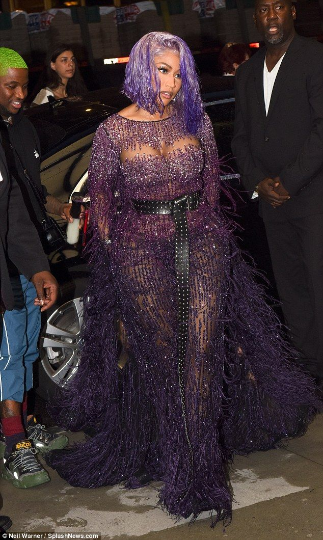 72a51a9b98c7 Turn heads in a purple maxi dress like Nicki #DailyMail #nickiminaj  #pamellaroland #purplemaxi Click