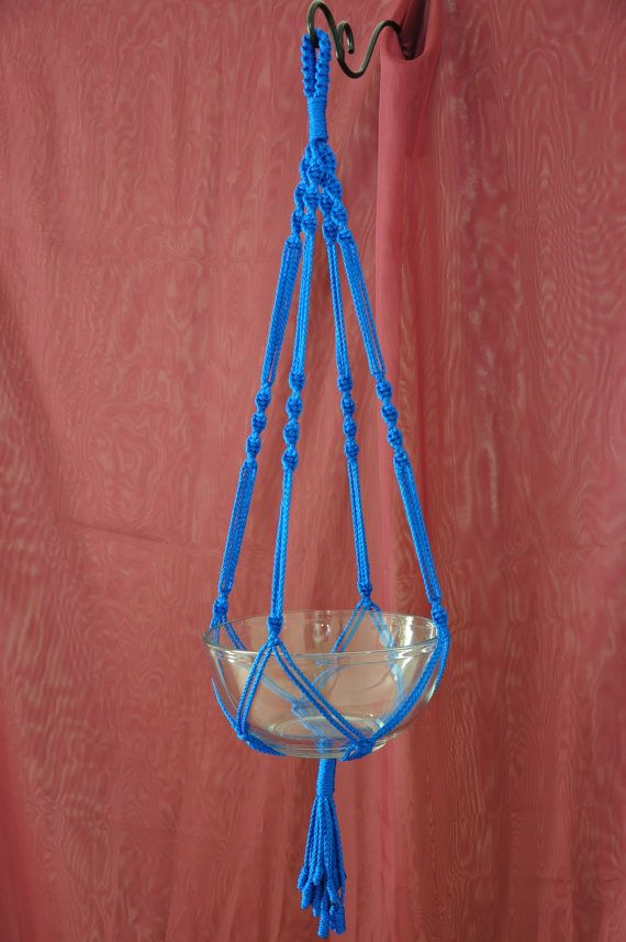 Hand Crafted Macrame Plant Hanger- Royal Blue 35″