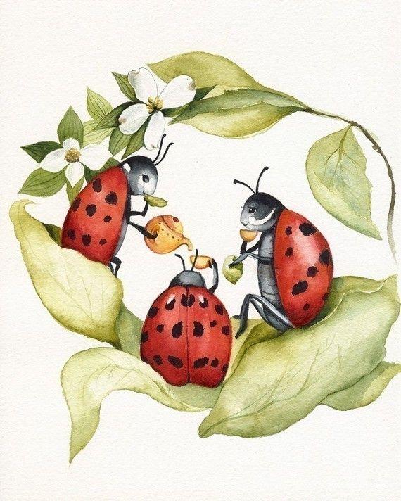 The Ladies -ladybug art, childrens room, decor, nursery
