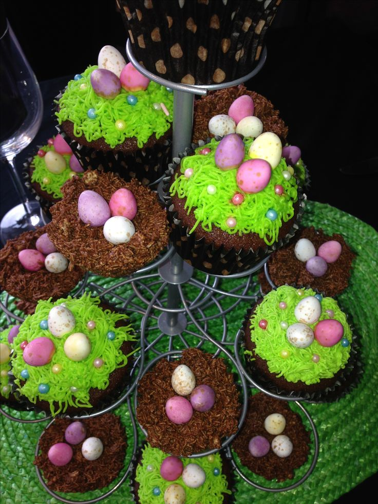 Chocolate nests and cupcakes! The Easter bunny sure brought the treats