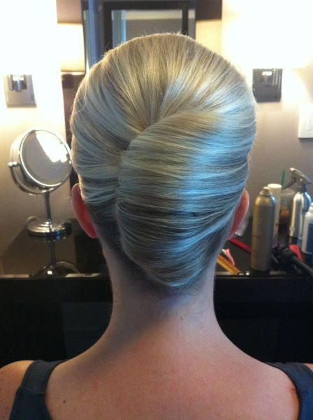White and Gold Wedding. Bridesmaid Hair. Natural Hair. classic French twist - bridesmaid hair