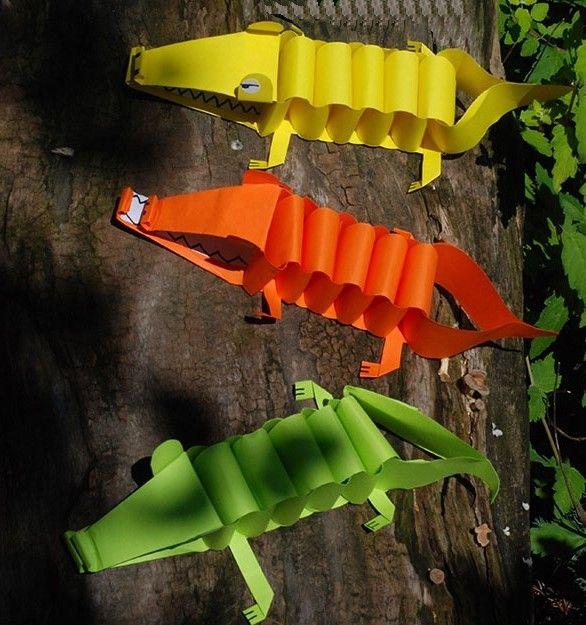 Поделки из бумаги для детей своими руками: крокодил