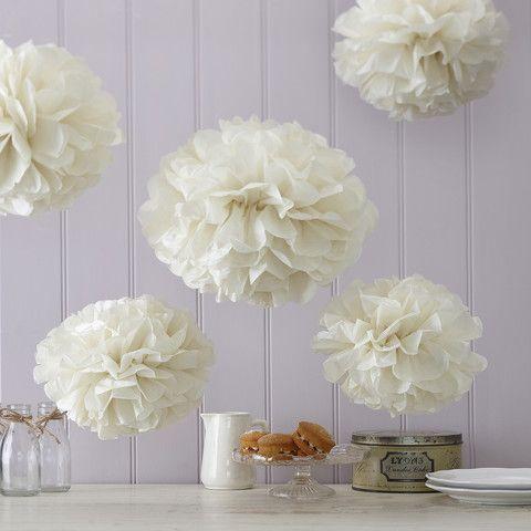 #Vintage #Lace Tissue Paper #PomPoms White & Ivory - Cadeaux.ie #weddingplanning #weddingideas #tabledecoration