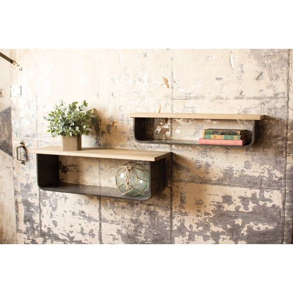 Kalalou Metal And Wood Wall Shelves - Set Of 2 – Modish Store