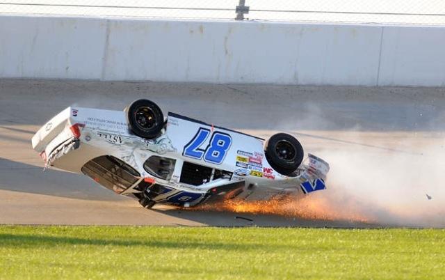 Joe Nemechek crashes in a Nascar Nationwide Series race.