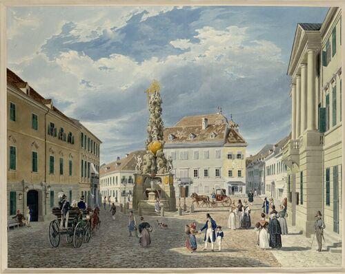 Eduard Gurk, Der Hauptplatz mit dem Ferdinandsbrunnen in Baden bei Wien (Guckkastenblatt), 1833 © Albertina, Wien