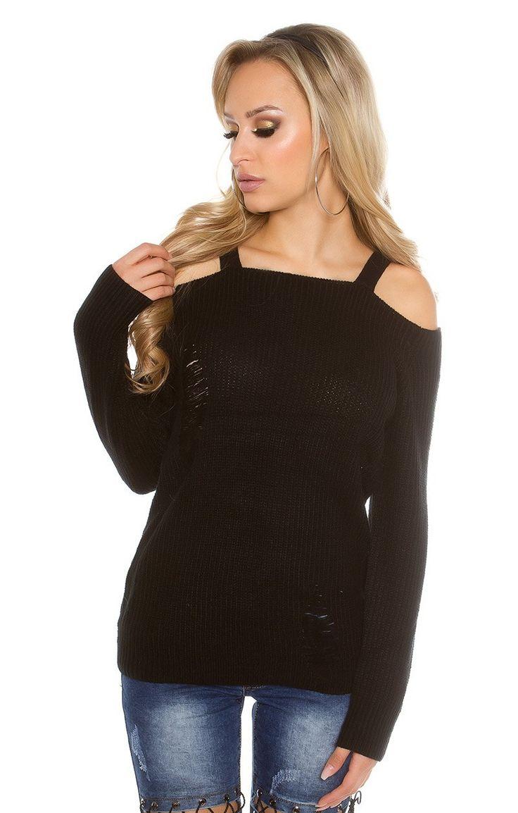 Sexy trui met open schouders en scheuren, in de kleur zwart. € 28,95