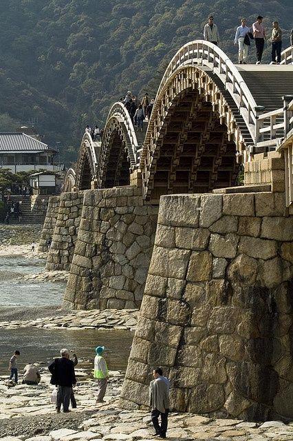 The Old Samurai Bridge Kintai bridge - historical wooden arch bridge, Iwakuni, Yamaguchi, Japan