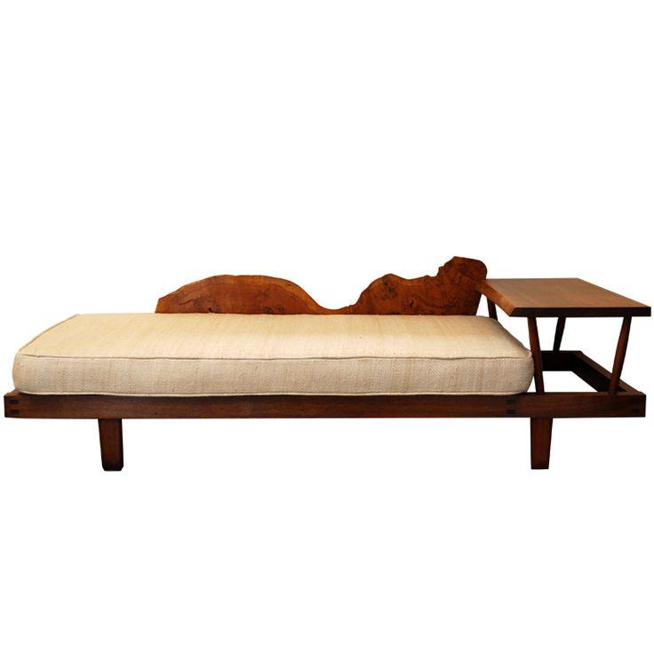 Geo. Nakashima free edge burled plank back unusual sofa. Designed for the Trattler family of Denver, Co., ca.1950's