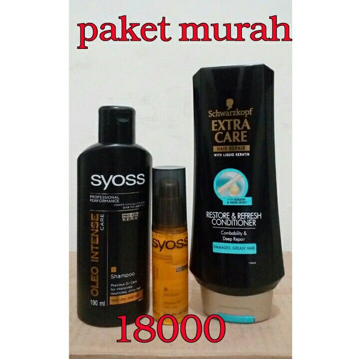 Paket murah isi - conditioner extra care 350ml - sampo syoss 1v95 ml - vit syoss 50 ml Harga 18.000 (Nb:vitamin syoss no pack)  Order invite Pin bb 58874adf Wa 081230172037