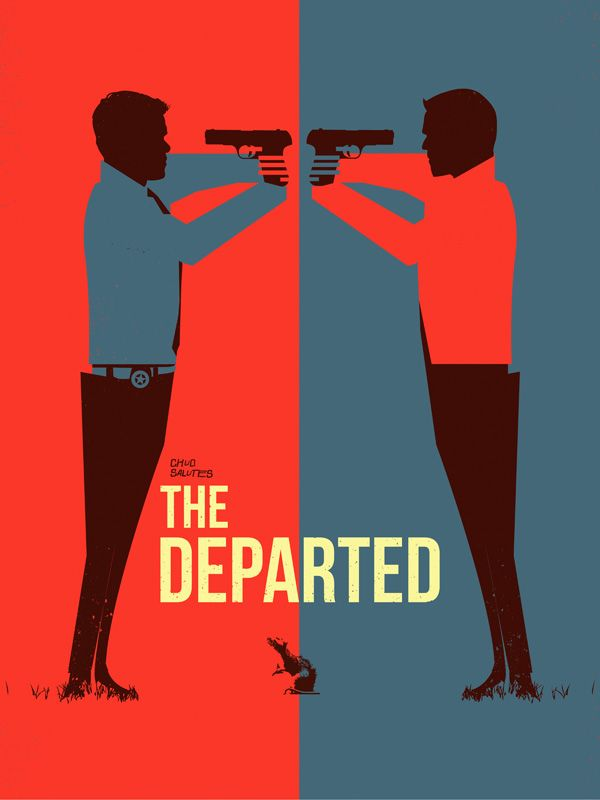 The Departed - artwork featuring the opposing double agents #GangsterMovie #GangsterFlick