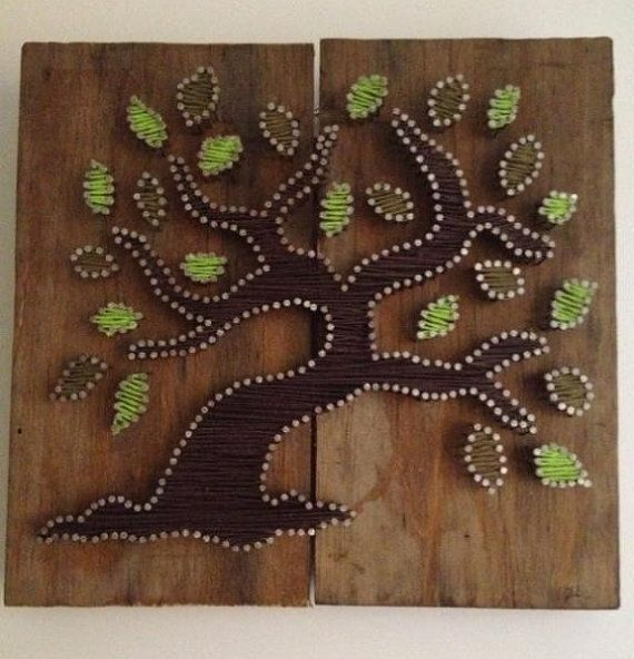 Albero della vita Tree of amicizia String Art su legno riciclato con corda di canapa