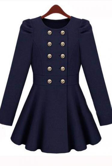 Gossip Girl Navy  Long Sleeve Double Breasted Flare Hem Wool Coat