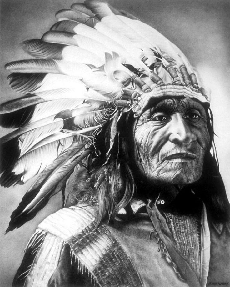 Картинка индейца карандашом