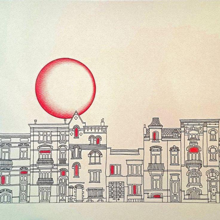 Bèlgica tercera part. #belgique #belgium #uccle #bruxelles #brussels #bruselas #ilustracion #ilustration #disseny #dibujo #draw #drawing #dessin #designer #house #casa #cuento #contes #urbandesign #red #moon #skyline