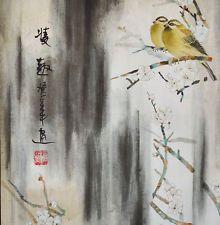 Парча дзен стиль silkprint китайская живопись акварель: желтые птицы