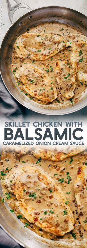 Skillet Chicken In Balsamic Caramelized Onion Cream Sauce Recipe | Little Spice Jar