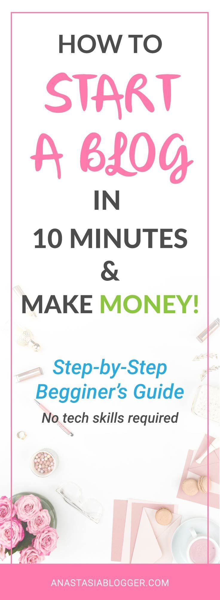 How to Start a Blog in 10 minutes: a Step-by-Step Guide for Beginners. Start your blog and make money online! How to create a blog? Get a tutorial on how to buy a domain name, register hosting and have your blog online in just 10 minutes! Blogging 101, blogging tips, blogging for beginners. To check this post later, save this Pin now!
