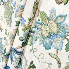 kaufmann brissac sapphire drapes - our family room drapery fabric.