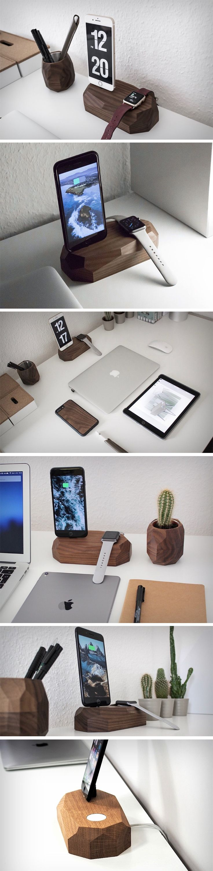 It's 2018 and plugging phones into wall-sockets is finally old-school. The new solution? Docks. Made out of wood, and with a rather appealing faceted finish, the Combo sits on your desk like a throne for your iPhone and Apple Watch. Compatible with iPhone 5 onwards, and with all Apple Watches, the Combo allows you to route your charging cables through it, while your devices rest on the wooden block. BUY NOW!