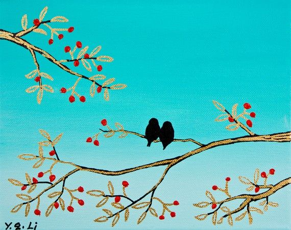 You and me Love Birds painting