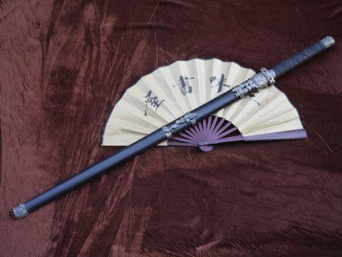 chinese sword sale Damascus Steel handmade Dark red blade Black wooden scabbard