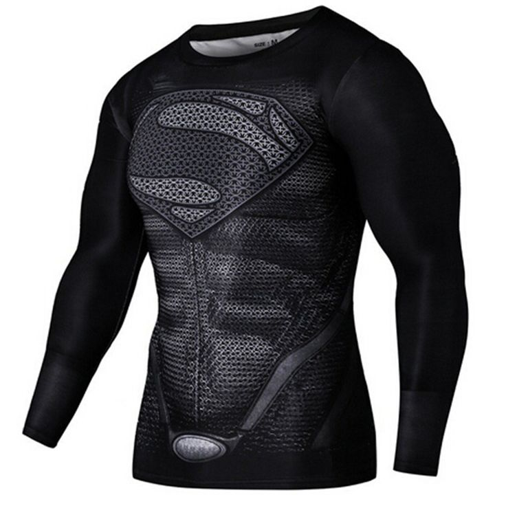 Mens Gym Clothing Sport Fitness tshirt 3D Superman/Captain America Long Sleeve T Shirt Men Crossfit Compression Shirt