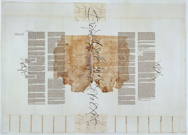 THE LIBRARY OF BABEL - Brody Neuenschwander [1997]   Collage of rice paper and antique documents on Rives BFK printmaking paper with Chinese ink, gold leaf  and applied quill pen - 75 x 105 cm.