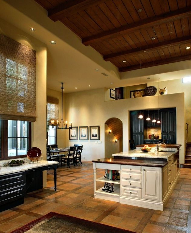 Southwestern Kitchen with Stone Tile, Kitchen island, Pendant light, One-wall, Ms International  Calacatta Classic Marble