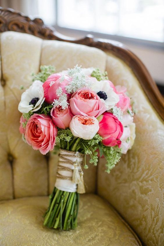 Bright pink bouquet by Emerson Events. Photo by Amanda Watson Photography…