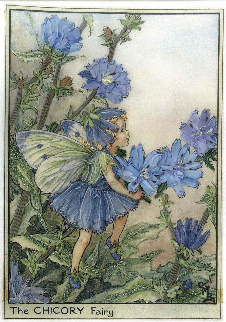 The Chicory Fairy from Cicely Mary Barker's Flower Fairies, embroidered