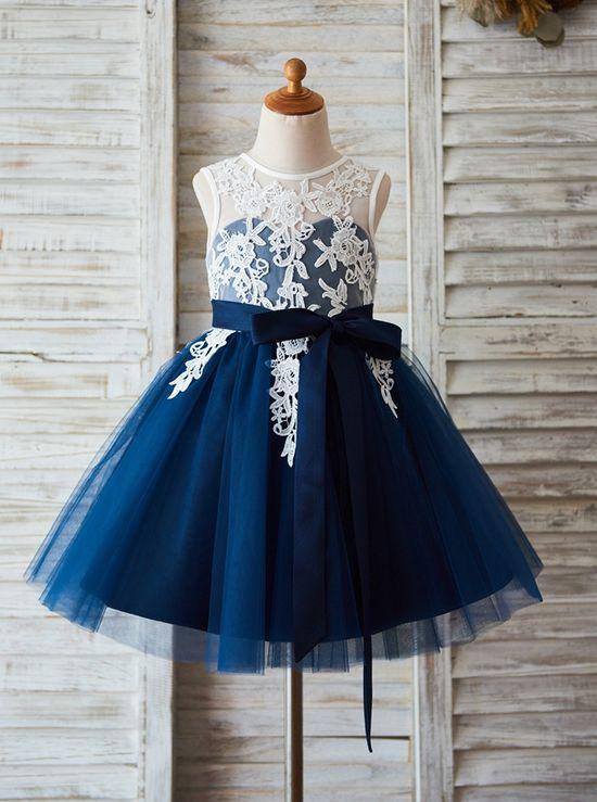 d636aaa86 A-line Flower Girl Dress with belt