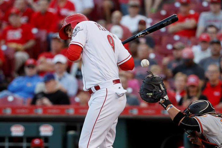 The 10 worst hitters of 2017 (so far)  -  April 28, 2017:       10. Jose Peraza, Cincinnati Reds. (OPS+: 41)  -   0 HR, 5 RBIs, .227/.261/.261  -    Cincinnati Reds' Jose Peraza is hit by a pitch by Baltimore Orioles starting pitcher Kevin Gausman in the second inning of a baseball game, Tuesday, April 18, 2017, in Cincinnati.