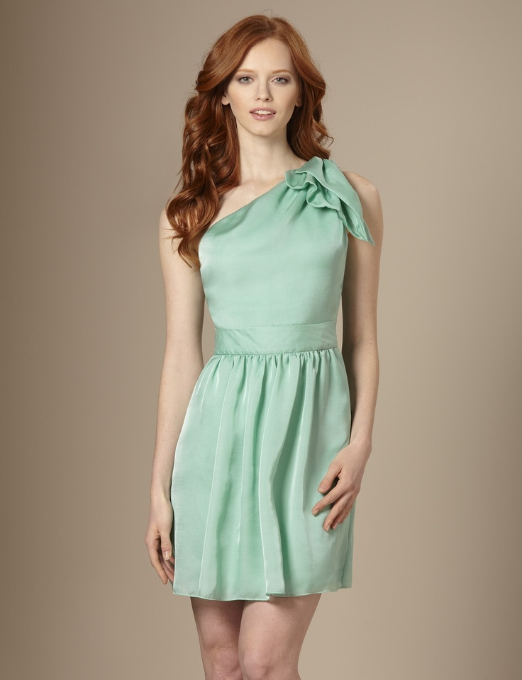 One-shoulder Dress in mint green. $24.99 from The Limited.