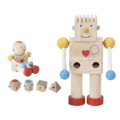 Építs Plan Toys robotot! A robothoz 4 db cserélhető fej tartozik, különböző arckifejezésekkel. Fejleszti a formafelismerést és taktilis élményt nyújt. A karok é ...